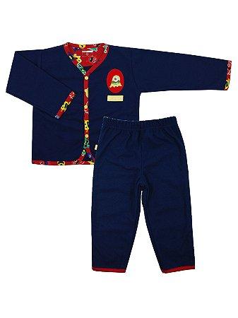 Pijama em Flanela Bossy Azul Marinho Be Little