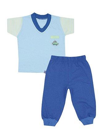 Pijama em Meia Malha List Car Azul Be Little