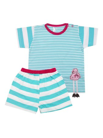 Pijama em Meia Malha Camiseta e Shorts Flamingo Be Little