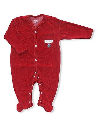 Macacão em Plush Vermelho com Pezinho Cool Be Little