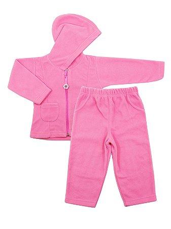 Conjunto em Micro Soft Be Girl Rosa Casaco e Calça Be Little