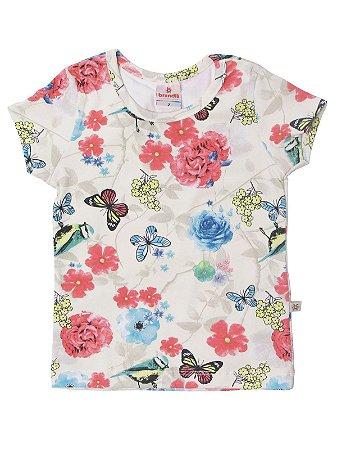Blusa em Cotton Manga Curta Floral Creme Brandili