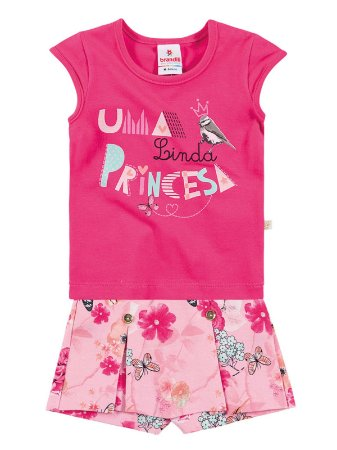 Conjunto em Cotton Blusa e Short Saia Linda Princesa Brandili
