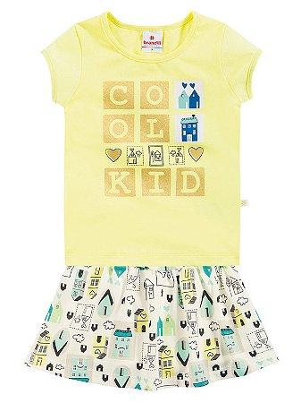 Conjunto Blusa em Cotton e Short Saia Cool Kid Brandili