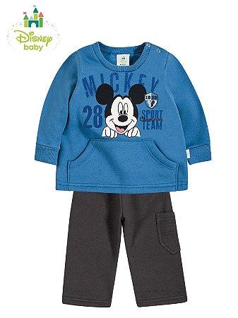 Conjunto em Moletom Peluciado Blusão e Calça Mickey 28 Brandili