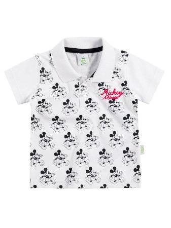 Camisa Polo em Malha Manga Curta Mickey Mouse Brandili