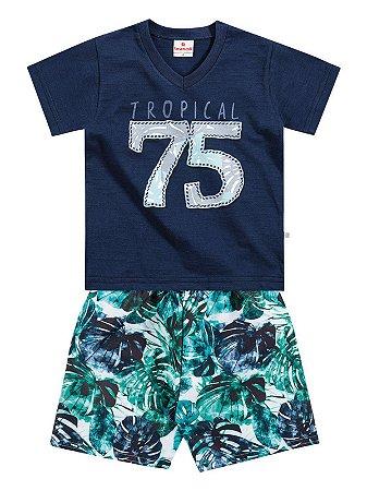 Conjunto Camiseta em Malha e Bermuda Microfibra Tropical 75 Brandili