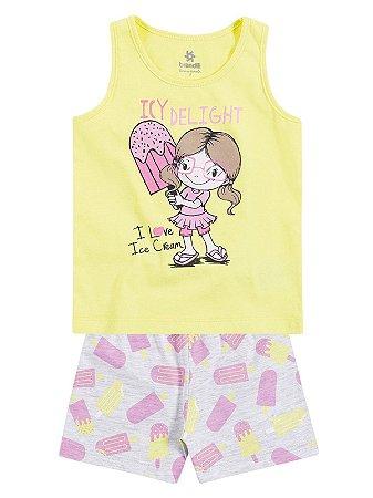 Pijama em Malha Regata e Shorts I Love Ice Cream Brandili