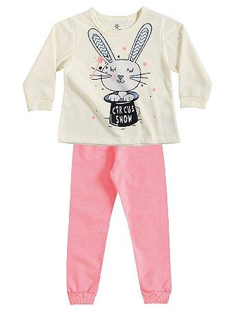 Pijama Blusão e Calça em Moletinho Coelhinho Brandili
