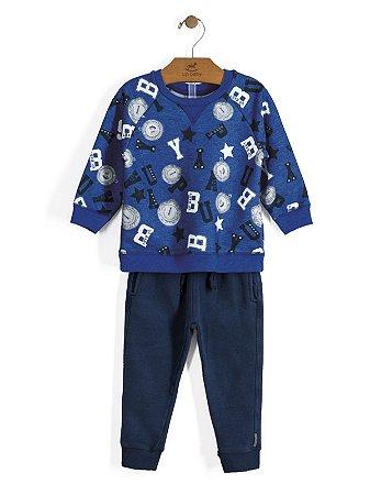 Conjunto Casaco e Calça em Moletom Azul Up Baby