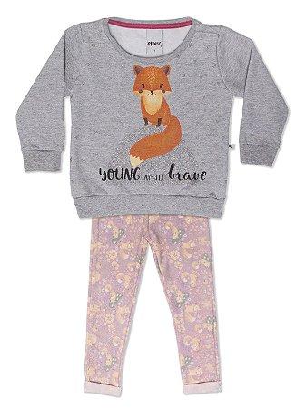 Conjunto Casaco em Moletom e Legging Estampada Fox Minore