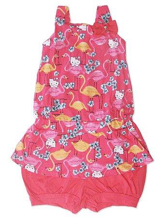 Macaquinho em Meia Malha e Cotton Flamingos Hello Kitty