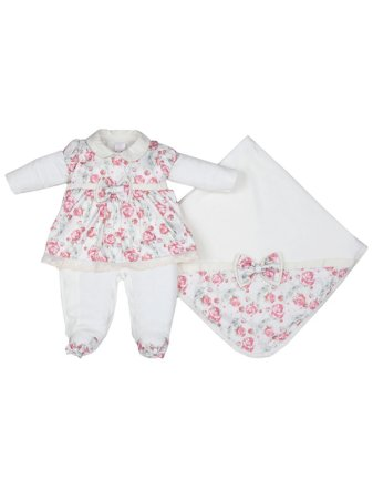Saída de Maternidade em Plush Primavera Floral Bebê Menina Sonho Meu