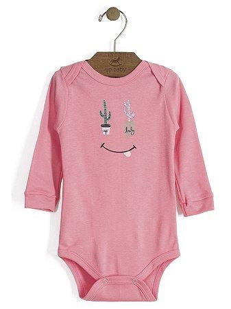 Body em Suedine Manga Longa Cactus Rosa Up Baby