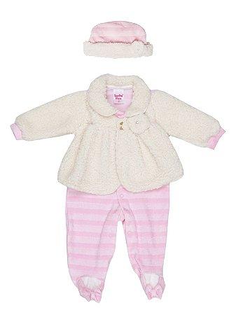 Macacão em Plush com Touca Bebê Menina Rosa Sonho Meu