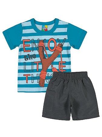 Conjunto Camiseta e Bermuda Bee Loop Enjoy Azul