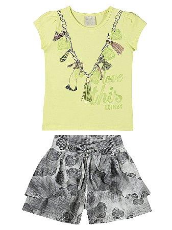 Conjunto Quimby Curto Menina Love This Verde