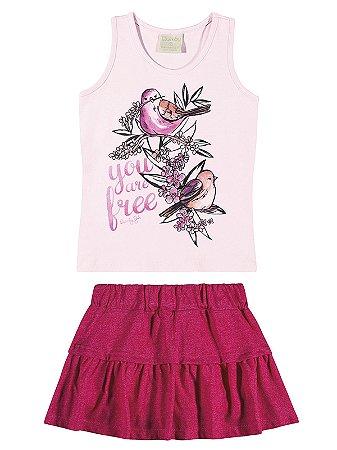 Conjunto Quimby Curto Menina Birds Rosa