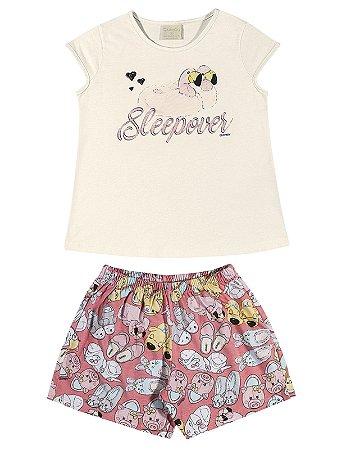 Pijama Quimby Curto Menina Sleepover Natural