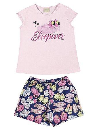 Pijama Quimby Curto Menina Sleepover Rosa
