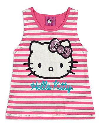 Blusa em Meia Malha Listras Pink Hello Kitty