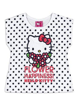 Blusa em Malha Poá Flower Hello Kitty