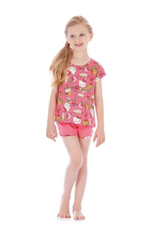 Pijama Blusa e Short em Malha Sanduíche Hello Kitty