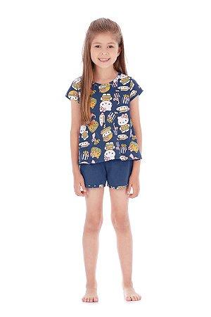 Pijama Blusa e Short em Malha Sanduíche Azul Hello Kitty