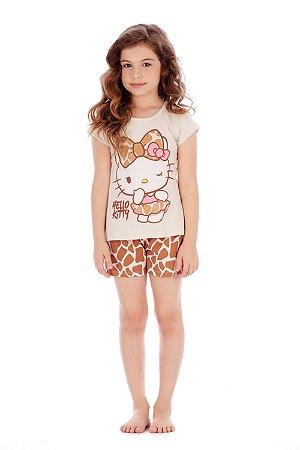 Pijama Blusa e Short em Malha Oncinha Hello Kitty