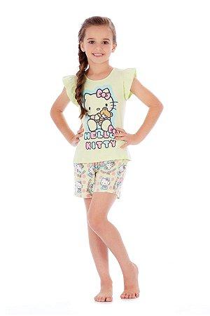 Pijama Blusa e Short em Malha Ursinho Verde Hello Kitty