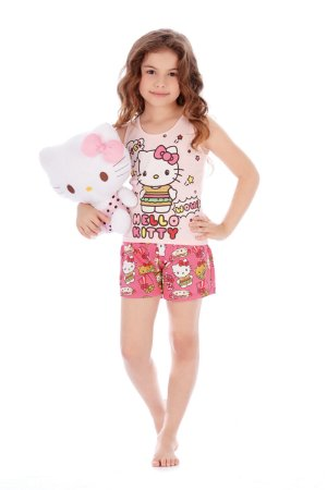 Pijama Regata e Short Malha Cute Rosa Hello Kitty