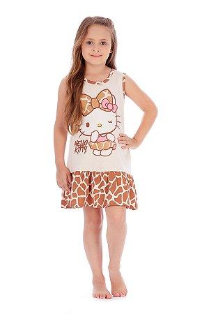 Camisola Sem Manga em Malha Oncinha Hello Kitty