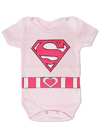 Body Divertido para Bebê Super Baby Menina Manga Curta