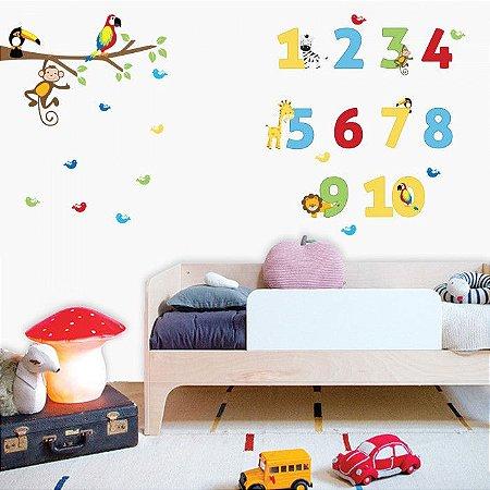 Adesivo de Parede Infantil Números Coloridos Stixx