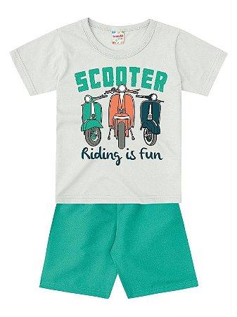 Conjunto Brandili Camiseta e Bermuda Scooter Cinza