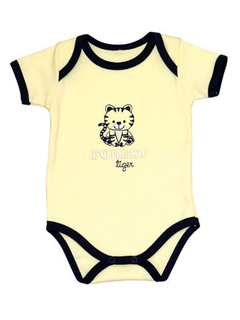 Body Mini Baby Curta Suedine Forest Tiger Amarelo