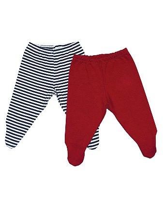 Kit Calças Mini Baby 2pças Listras e Vermelha