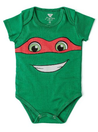 Body Divertido para Bebê Marlan Tartarugas Ninja Verde