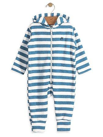 Macacão Up Baby em Plush Buckle Listras Azul