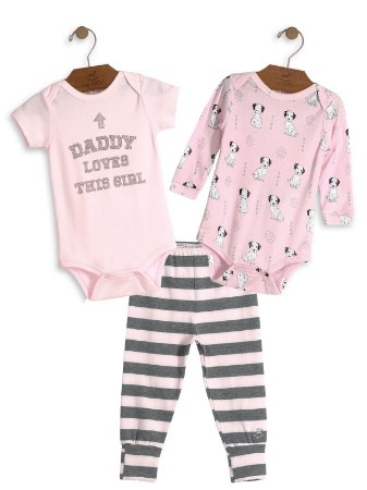 Kit 3 peças Up Baby Daddy Loves This Girl Bodies e Calça Rosa