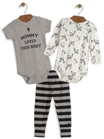 Kit 3 peças Up Baby Mommy Loves This Baby Bodies e Calça Cinza