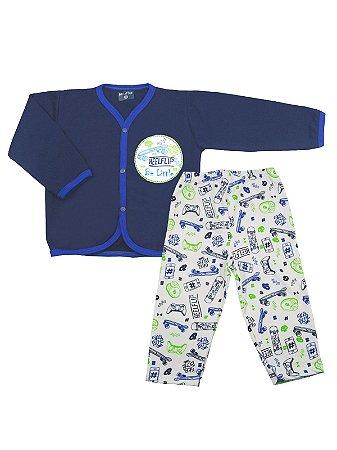 Pijama Be Little Pluminha Longo My Kingdom Marinho