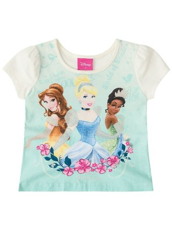 Blusa Brandili Curta Malha Princesas Disney Natural