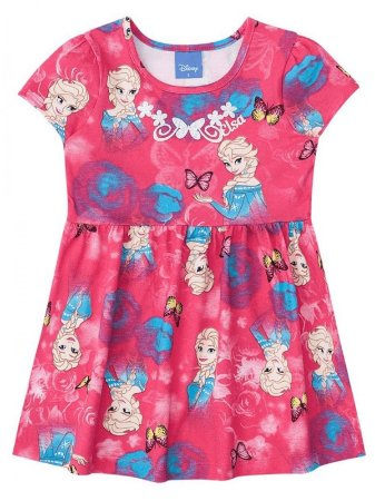 Vestido Brandili Curto Frozen Elsa Malha Pink