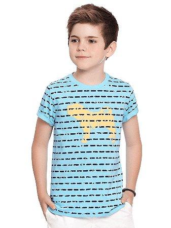 Camiseta Charpey Curta Meia Malha Estampada Azul