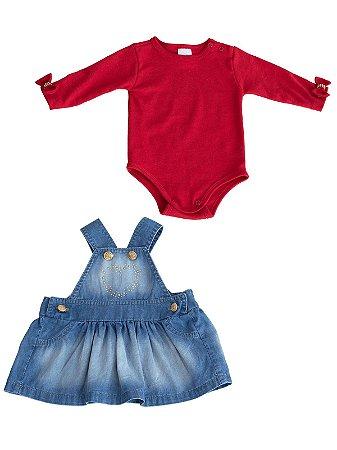 Conjunto Sonho Meu 2 peças Jardineira Jeans e Body Vermelho