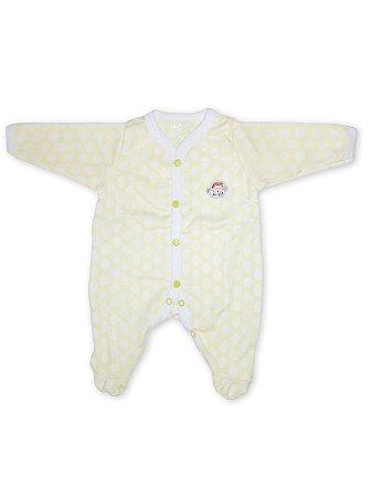 Macacão Pijama Be Little em Malha Longa Poá Bebezito Amarelo