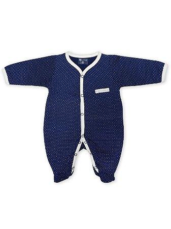 Macacão Pijama Peluciado Be Little em Malha Longa Poá Azul