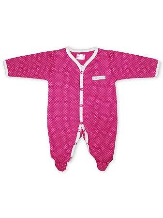 Macacão Pijama Peluciado Be Little em Malha Longa Poá Pink