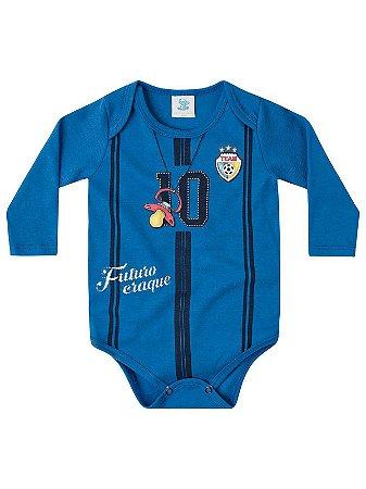 Body Divertido para Bebê Marlan Longa Jogador Futebol Azul